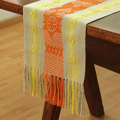 Cotton table runner, 'Pre-Hispanic Memories' - Cotton Table Runner with Tangerine Animal Motifs from Mexico