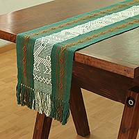 Cotton table runner, 'Moss Green History' - Handwoven Green Cotton Table Runner from Mexico
