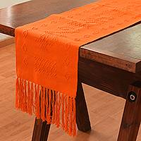 Cotton table runner, 'Tangerine Geometry' - Handwoven Cotton Table Runner in Tangerine from Mexico