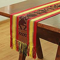 Cotton table runner, 'Vibrant Fauna' - Handwoven Animal-Themed Cotton Table Runner from Mexico