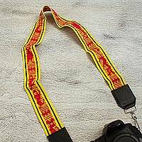 Leather accent cotton lanyard, 'Carnation Geometry' - Leather Accent Cotton Lanyard in Carnation and Maize