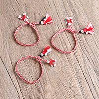 Cotton wristband bracelets, 'Vibrant Dolls' (set of 3) - Cotton Wristband Bracelets in Crimson and White (Set of 3)