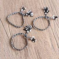 Cotton wristband bracelets, 'Black and White Dolls' (set of 3) - Cotton Wristband Bracelets in Black and White (Set of 3)