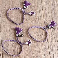 Cotton wristband bracelets, 'Regal Dolls' (set of 3) - Cotton Bracelets in Blue-Violet and White (Set of 3)
