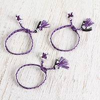 Cotton wristband bracelets, 'Purple Dolls' (set of 3) - Cotton Bracelets in Wisteria and Aubergine (Set of 3)