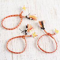 Cotton wristband bracelets, 'Fiery Dolls' (set of 3) - Cotton Wristband Bracelets in Maize and Tomato (Set of 3)