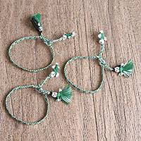 Cotton wristband bracelets, 'Verdant Dolls' (set of 3) - Cotton Wristband Bracelets in Viridian and White (Set of 3)