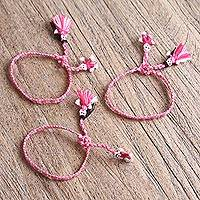 Cotton wristband bracelets, 'Rose and White Dolls' (set of 3) - Cotton Wristband Bracelets in Rose and White (Set of 3)