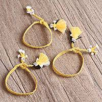 Cotton wristband bracelets, 'Maize Dolls' (set of 3) - Cotton Wristband Bracelets in Maize (Set of 3)