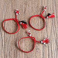 Cotton wristband bracelets, 'Strawberry Dolls' (set of 3) - Cotton Wristband Bracelets in Strawberry (Set of 3)