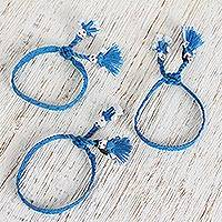Cotton wristband bracelets, 'Royal Blue Dolls' (set of 3) - Cotton Wristband Bracelets in Royal Blue (Set of 3)