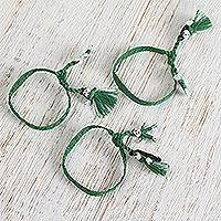 Cotton wristband bracelets, 'Moss Green Dolls' (set of 3) - Cotton Wristband Bracelets in Moss Green (Set of 3)