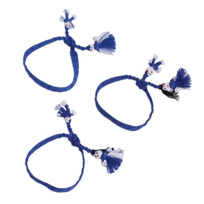 Cotton Wristband Bracelets in Azure (Set of 3)