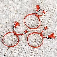 Cotton wristband bracelets, 'Pumpkin Dolls' (set of 3) - Cotton Wristband Bracelets in Pumpkin (Set of 3)