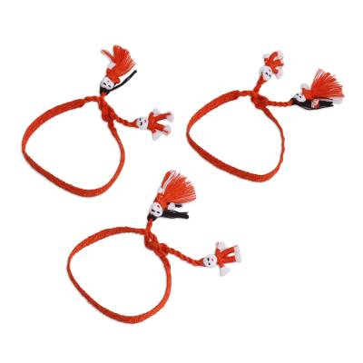 Cotton Wristband Bracelets in Pumpkin (Set of 3)