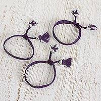 Cotton wristband bracelets, 'Blue-Violet Dolls' (set of 3) - Cotton Wristband Bracelets in Blue-Violet (Set of 3)