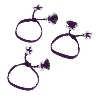 Cotton Wristband Bracelets in Blue-Violet (Set of 3)