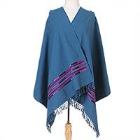 Cotton shawl, 'Rebozo Style in Azure' - Handwoven Cotton Shawl in Azure from Mexico
