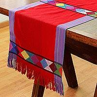 Cotton table runner, 'Sweet Color in Crimson' - Geometric Cotton Table Runner in Crimson from Mexico