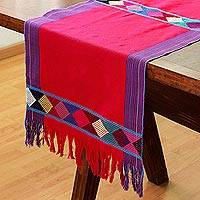 Cotton table runner, 'Sweet Color in Cerise' - Geometric Cotton Table Runner in Cerise from Mexico