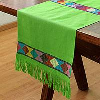 Cotton table runner, 'New Lands in Lime' - Geometric Cotton Table Runner in Lime from Mexico