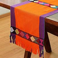 Cotton table runner, 'Sweet Color in Vermilion' - Geometric Cotton Table Runner in Vermilion from Mexico