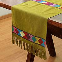 Cotton table runner, 'New Lands in Avocado' - Handwoven Geometric Cotton Table Runner in Avocado