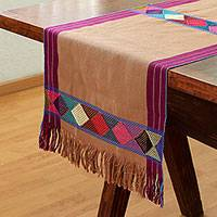 Cotton table runner, 'Sweet Color in Cinnamon' - Geometric Cotton Table Runner in Cinnamon from Mexico