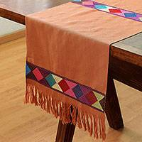 Cotton table runner, 'New Lands in Ginger' - Geometric Cotton Table Runner in Ginger from Mexico