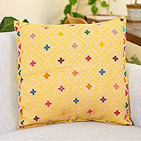 Cotton cushion cover, 'Artisanal Passion' - Cotton Cushion Cover in Gold and Cornsilk from Mexico