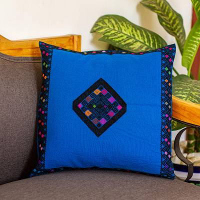 Cotton cushion cover, 'Royal Blue Enchantment' - Handwoven Cotton Cushion Cover in Royal Blue from Mexico