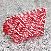 Cotton cosmetic bag, 'Geranium Diamonds' - Cotton Cosmetic Bag in Geranium and White from Mexico