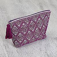 Cotton cosmetic bag, 'Intricate Eggplant' - Cotton Cosmetic Bag in Eggplant and White from Mexico