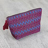 Cotton cosmetic bag, 'Mulberry Nahual' - Cotton Cosmetic Bag in Mulberry and Azure from Mexico