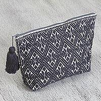 Cotton cosmetic bag, 'Graphite Elegance' - Cotton Cosmetic Bag in Graphite and White from Mexico