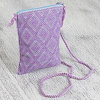 Cotton cell phone bag, 'Magenta Tlatoani' - Cotton Cell Phone Bag in Magenta and Azure from Mexico