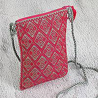 Cotton cell phone bag, 'Cherry Forest' - Cotton Cell Phone Bag in Cherry and Sage from Mexico