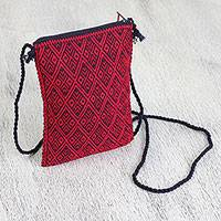 Cotton cell phone bag, 'Crimson Quetzal' - Cotton Cell Phone Bag in Crimson and Midnight from Mexico