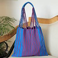 Cotton tote, 'Striped Passion in Cerise' - Striped Cotton Tote in Cerise and Caribbean Blue from Mexico