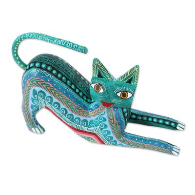 Wood alebrije figurine, 'Cat Stretch' - Wood Alebrije Figurine Cat in Green from Mexico