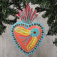 Tin wall art, 'Honeysuckle Dream' - Heart-Shaped Floral Tin Wall Art in Honeysuckle from Mexico