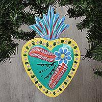 Tin wall art, 'Flaming Turquoise Heart' - Heart-Shaped Floral Tin Wall Art in Turquoise from Mexico