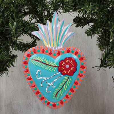 Tin wall art, 'Vibrant Heart' - Hand-Painted Floral Heart-Shaped Tin Wall Art from Mexico