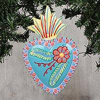 Tin wall art, 'Majestic Heart' - Heart-Shaped Floral Tin Wall Art from Mexico