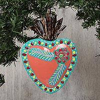 Tin wall art, 'Peach Heart' - Heart-Shaped Flower Motif Tin Wall Art from Mexico