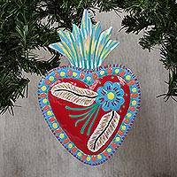 Tin wall art, 'Ecstatic Heart' - Floral Heart-Shaped Tin Wall Art in Claret from Mexico