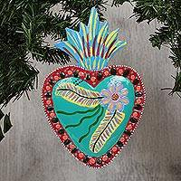 Tin wall art, 'Cheerful Heart' - Floral Heart-Shaped Colorful Tin Wall Art from Mexico