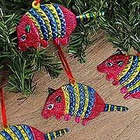 Tin ornaments, 'Armadillos in Pink' (Set of 4) - Colorful Pink Armadillo Embossed Tin Ornaments (Set of 4)
