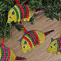 Tin ornaments, 'Armadillos in Yellow' (Set of 4) - Colorful Yellow Armadillo Embossed Tin Ornaments (Set of 4)