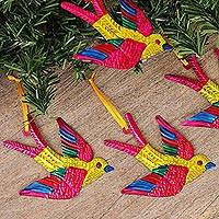 Tin ornaments, 'Holiday Flight in Yellow' (set of 4) - Tin Bird Ornaments in Yellow from Mexico (Set of 4)